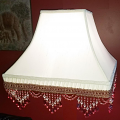 "Victorian Smock Pleated Square Lamp Shade 10 Beaded Fringe Colors 12-16""W - Sale !"