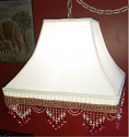 "Victorian Smock Pleated Square Swag Lamp 10 Beaded Fringe Colors 12-16""W"