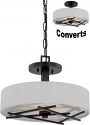 "Stix Bronze LED White Drum Pendant Light Converts to Ceiling Light 15""Wx9.5""H - Sale !"