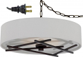 "Stix Bronze LED White Linen Drum Plug In Pendant Light 15""W"