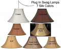 "Colorful Coolie Silk Plug In Swag Lamps 16""W"