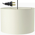 "Cream or White Linen Drum Swag Lamp Cord Hung 15""W - Sale !"