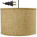 """Burlap Drum Swag Lamp Cord Hung 15""""W"""