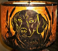 "Drum Mica Lamp Shade With Family Dog Overlay Scene 14-20""W"