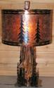 "Deer, Elk, Pine Trees Wood Mica Lamp 26""H"