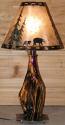 "Cedar Wood Lamp Black Bears Pine Trees Mica Shade 27""H"