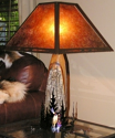 "Oak Wood Deer Pine Trees Mica Lamp 27""H"