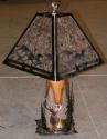 "Elk, Deer, Pine Trees Wood Mica Lamp 27""H"