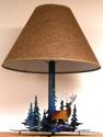 """Deer Trees Metal Cutout Lamp Fabric Shade 22""""H"""