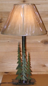 "Pine Trees Rustic Metal Desk Lamp 25""H"