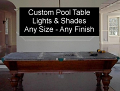 Custom Billiard Lights and Pool Table Metal Lamp Shades USA Made