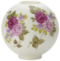"10""W Satin White, Flowers Ball Glass Lamp Shade"