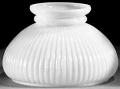 "Ribbed White Hurricane Glass Shade 7"" Fitter"