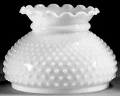 "Hobnail White Hurricane Glass Shade Scallop Top 7"" Fitter"