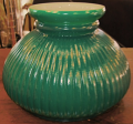 "Green Hurricane Glass Shade 7"" Fitter"