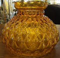 """Amber Quilted Hurricane Glass Shade 10"""" Fitter"""