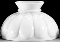 "White Flat Melon Hurricane Glass Lamp Shade 10"" Fitter"