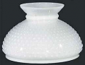 "Flat Hobnail White Hurricane Glass Lamp Shade 10"" Fitter"