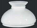 """Flat Hobnail White Hurricane Glass Lamp Shade 10"""" Fitter"""