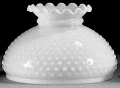 "Scallop Hobnail White Hurricane Glass Shade 10"" Fitter"