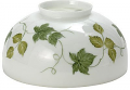 "White With Green Leaves Vines Hurricane Glass 14""W Fitter"