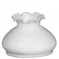 "Ruffled Top White Hurricane Glass Lamp Shade 6"" Fitter"