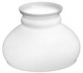 "Plain Top White Hurricane Glass Lamp Shade 6"" Fitter"