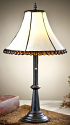 "Amber Cabochons Ivory Bell Glass Tiffany Table Lamp 20""H"
