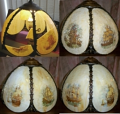 Slag Lamp Shade New Glass Panels & Hand Painting