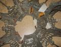 Flattened Slag Lamp Shade Frame Before Restoring