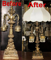 Antique Lamp Base Before & After Refinishing Restoration