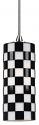 "Black & White Checkered Glass Bar Light 3.1""Wx7.4""H"