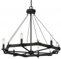 "Blacksmith Iron Wood Chandelier 6 Lights 32""Wx26""H"