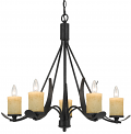 "Blacksmith Iron Chandelier Glass Shades 5 Lights 28""Wx25""H"