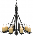 "Blacksmith Iron Chandelier Glass Shades 8 Lights 30""Wx28""H"