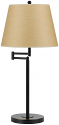 "Bronze Adjustable Swing Arm Lamp Beige Linen Lampshade 28""H"