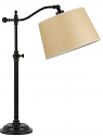 "Bronze Adjustable Arm Lamp Beige Linen Lampshade 28""H"