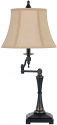 "Oil Rubbed Bronze Swing Arm Reading Lamp Burlap Shade 31""H"