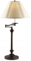 "Bronze Adjustable Swing Arm Reading Lamp Pleated Shade 29""H"