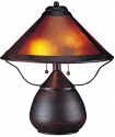 "Small Bronze Lamp w/Dirk Van Erp Style Mica Shade 17""H"