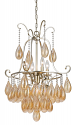 "Golden Silver Iron Chandelier Glass Pendant Crystals 5 Lights 20""Wx34""H"