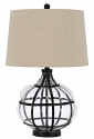 "Metal Caged Onion Glass Lamp Linen Drum Lampshade 26""H"