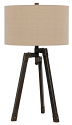 "Bronze Iron Tripod Lamp Drum Linen Lampshade 31""H"