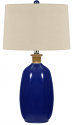 "Navy Blue Ceramic Lamp Cream Drum Lampshade 27""H"