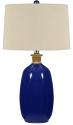 """Navy Blue Ceramic Lamp Cream Drum Lampshade 27""""H"""