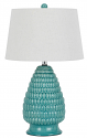 "Aqua Blue Ceramic Lamp Off White Drum Lampshade 28""H"