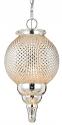 "Antique Golden Hobnail Glass Pendant Light 16.5"" High"