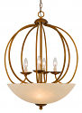"Antique Gold Sphere Pendant Light Glass Shade 22""Wx27""H"