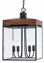 "Bronze Metal Wood Pendant Light Glass Shades 14""Wx22""H"