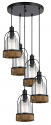 "Bronze Iron Wood Glass Pendant 5 Light 20""W"